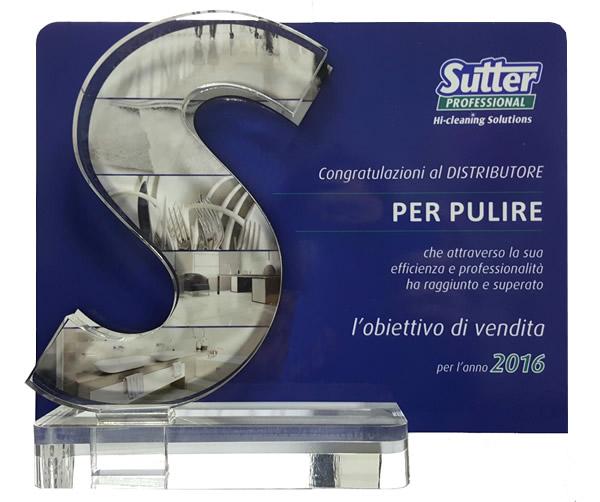 Perpulire riceve importante riconoscimento per la vendita di prodotti Sutter nel 2016